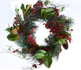 FERN PINE BERRY WREATH - 24""