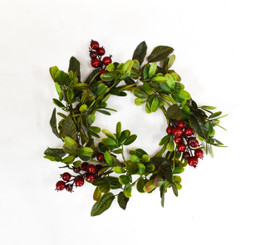MISTLETOE & BERRY CANDLE RING - 5""