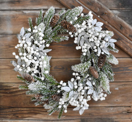 SNOW TIPPED PINE W/BERRY WREATH - 22""