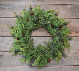 PINE & JUNIPER WREATH 17""