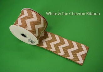 """WHITE / TAN CHEVRON RIBBON - 2.5"""" X 10 YDS"""