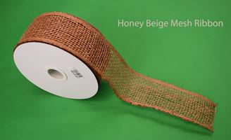 "HONEY BEIGE MESH RIBBON - 2.5"" X 20 YDS"