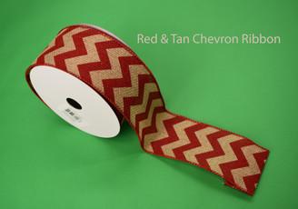 """RED / TAN CHEVRON RIBBON - 2.5"""" X 10 YDS"""