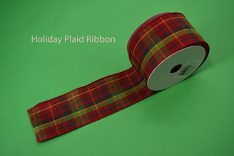 "HOLIDAY PLAID RIBBON - 2.5"" X 10 YDS"