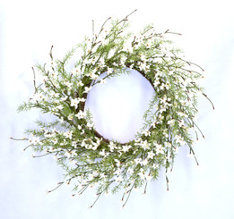 FLOWERING PERIWINKLE WREATH 21.5""