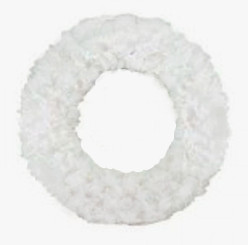 FLUFFY WREATH - WHITE - 16""