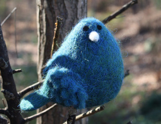 WOOLY BIRD STANDING - TURQUOISE