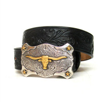 TONY LAMA KID'S BLACK LITTLE TEXAS BELT