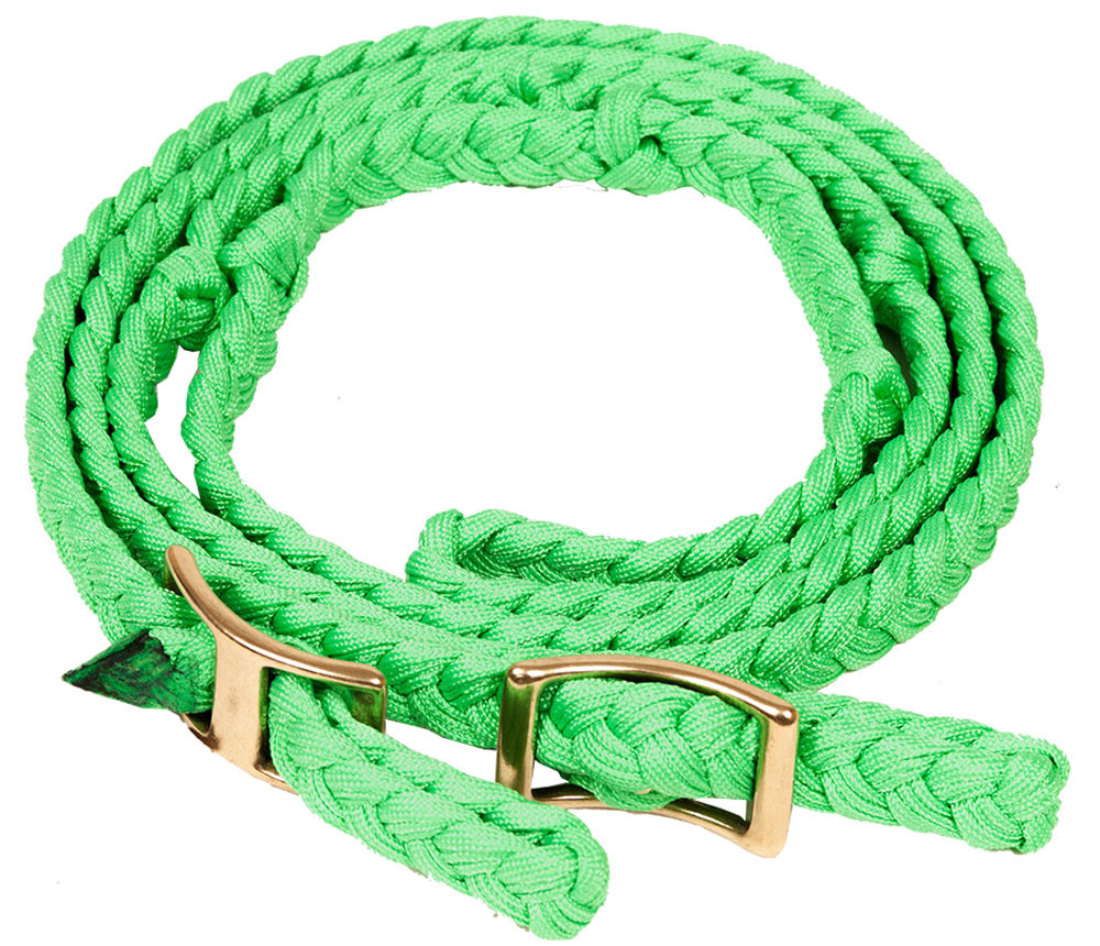 """NYLON FLAT BRAIDED KNOTTED BARREL REIN 3.4"""" X 8"""" - LIME"""