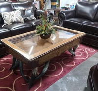 SHADOW BOX COFFEE TABLE WITH COWHIDE LINING AND HORN LEGS