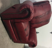 RED LEATHER WALLER RECLINER & ROCKER FROM DENNARDS