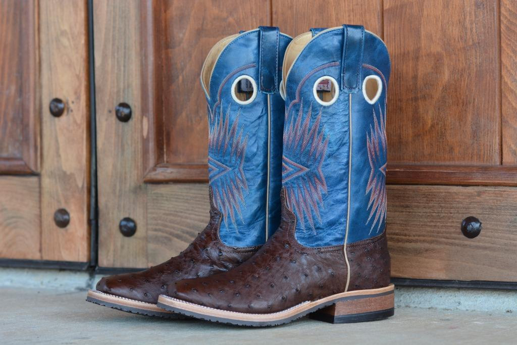 MEN'S ANDERSON BEAN BROWN FULL QUILL OSTRICH W/ GOAT TOP BOOTS FROM DENNARDS