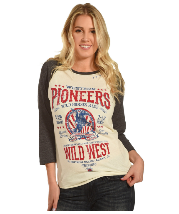 WOMEN'S BOHEMIAN COWGIRL PIONEER OF THE WEST TEE FROM DENNARDS