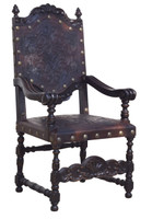 TOOLED LEATHER ARM CHAIR