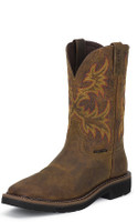 MEN'S JUSTIN RUGGED TAN COWHIDE SQUARE TOE WORK BOOT - FREE SHIPPING