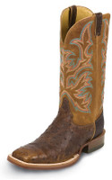 MEN'S JUSTIN AQHA SADDLE BROWN & BRANDY FULL QUILL BOOTS - FREE SHIPPING