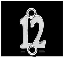 #12 Charm with DOUBLE LOOPS 11x19mm 10 pieces