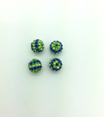 Blue & Green Crystal Balls, 8mm, Hole 1mm, 4 pieces
