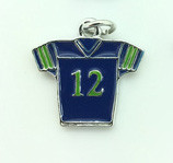 Small #12 Blue & Green Jersey Charm 18mm 10 pieces