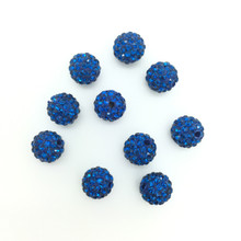 Royal Blue Crystal (Pave) Balls, 10mm, Hole 1mm, 10 pieces