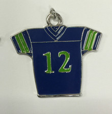 Large #12 Blue & Green Jersey Charm 38x36mm
