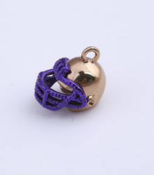 Purple & Gold Enamel Football Helmet Charm 12x12mm, 10 pieces