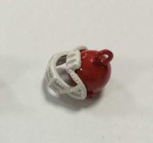 Red & White Enamel Football Helmet Charm 12x12mm, 10 pieces