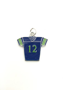 Medium #12 Blue & Green Jersey Charm 28x30mm
