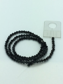 3mm Jet Faceted Bicone