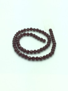 8mm Dark Red Porcelain Faceted Round