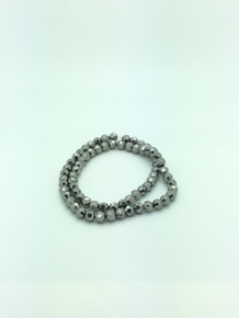 8mm Silver Faceted Round