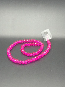 8x6mm Hot Pink Faceted Rondelle