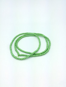 "4mm Matte Green Glass Pearls 32"" Strand"