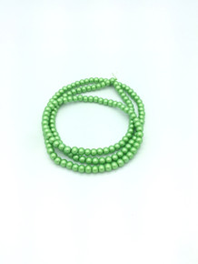 "6mm Matte Green Glass Pearls 32"" Strand"