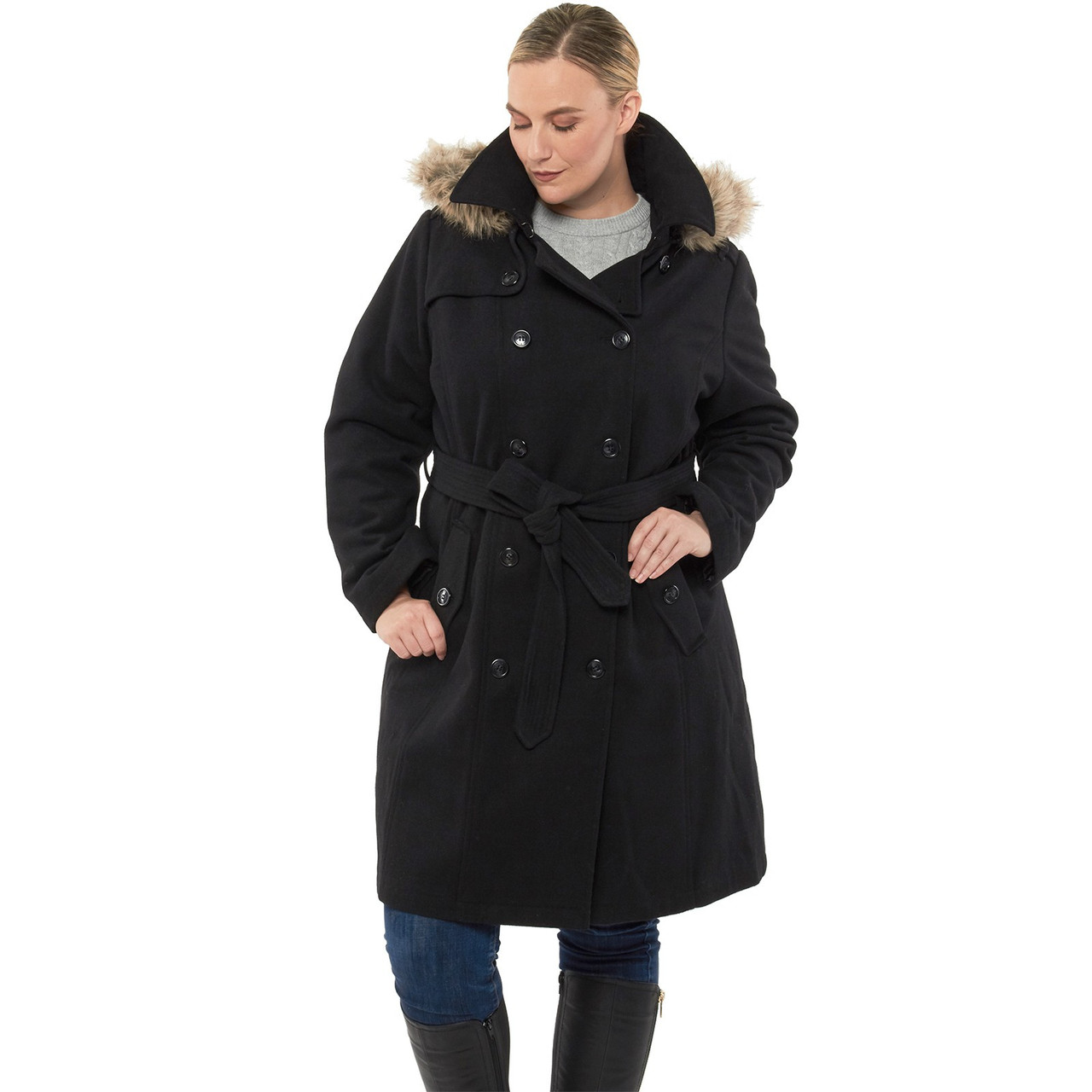 Alpine Swiss Women's Parka Trench Pea Coat Belt Jacket Fur Hood ...