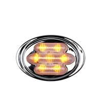 Maxxima Mini Chrome Oval Clearance Marker - Mini Amber Clear