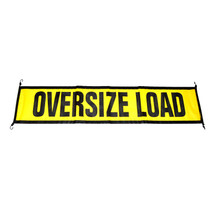"""Poly mesh vinyl material allows air to flow through  Heavy-duty cord with steel hooks  Bungee style attachment  18"""" x 84"""" with 12 letters, Black and Yellow  14"""" x 60"""" - Escort Vehicle Size 10152,OWP,Oversize Warning"""