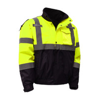 Class 3, 3-IN-1 Waterproof Bomber Jacket with New Removable Fleece A zip out fleece liner enhances the level of versatility provided by the waterproof Bomber Jacket. It covers you for three seasons. Lime Color, Black Bottom ANSI / Class 3 / Fleece / Leade