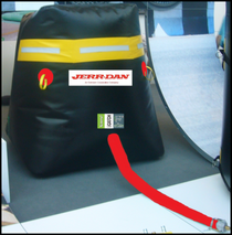 Large Jerr Dan radio welded Truck Catch Bag System reinforced at top and bottom, Three way manifold, cam locks. Large square footprint base for sturdy positioning, large top catch surface  with circle J logo.