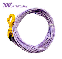 "3/8"" Synthetic Rope with Self Locking Hook, 100'"