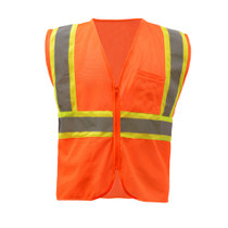 GSS Class 2 Mesh 2-Tone Zip Vest, Orange