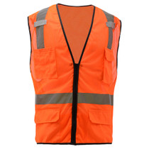 GSS Class 2, 6-Pocket Multi Vest, Mesh Zipper, Orange