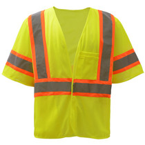Standard Class 3 Two Tone Mesh Hook & Loop Safety Vest Lime