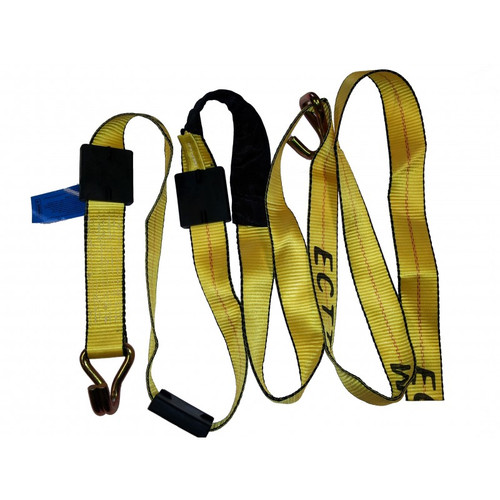 Haul vehicles with greater peace of mind when you use these ECTTS Car Hauler Straps. This strap lets you have straps on hand when jobs arise, and they store in a protective sleeve when not in use.  - Straps measure 10 ft. - Straps include J hook and tire grippers