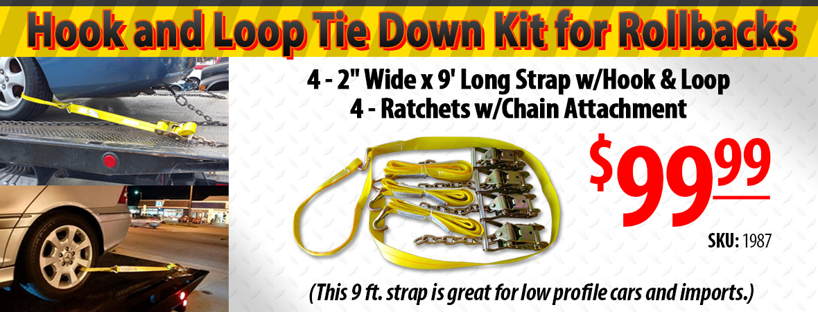 Hook and loop tie down kit for towing and recovery