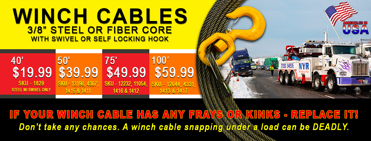 Winch cables, WInch Lines, Wire Rope, Tow Rope