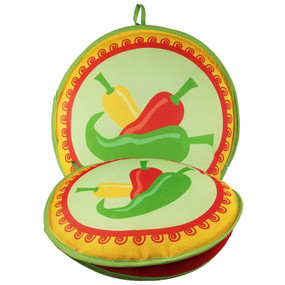 13-Inch Three Peppers Insulated Tortilla Warmer - Microwave Fabric Pouch - front + flat