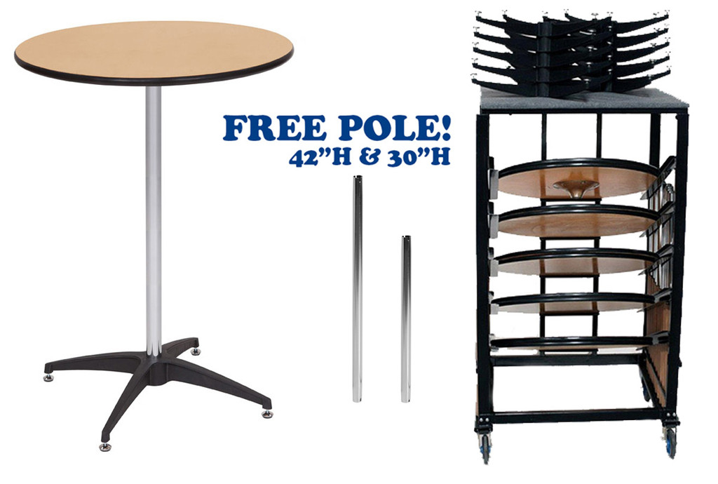 """10 Pack Bundle 36"""" Round Premier Series Plywood Pedestal Cocktail Table With Storage Dolly"""