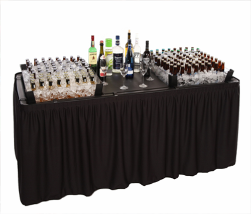 Fill 'N Chill Plastic Party Table Bundle With Extension Kits, Drain Valve, Skirting, and Storage Bag - Free Shipping - 2 Colors