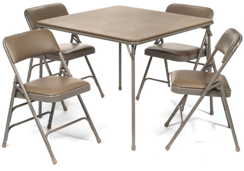 5pc XL Series Folding Card Table and Vinyl Padded Chair Set, Beige - Free Shipping